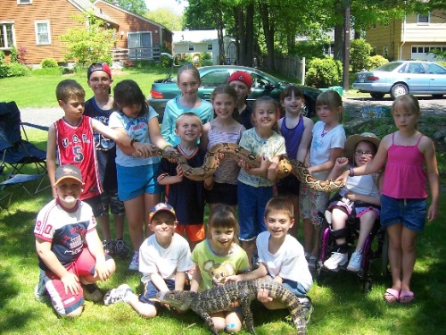 Have your next birthday party with animals at Rainforest Reptile Shows!